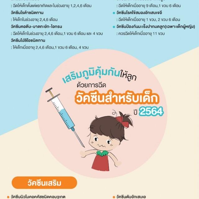 เสริมภูมิคุ้มกันให้ลูกด้วยการฉีดวัคซีนสำหรับเด็ก ปี 2564